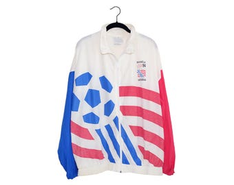 Vintage Adidas USA World Cup '94 Red White & Blue Oversize Jacket Making Soccer History, Made in USA - XL