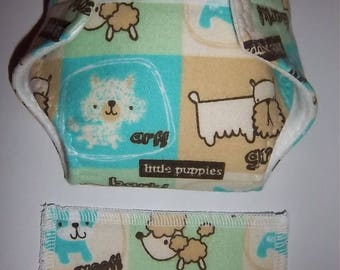 Baby Doll Diaper/wipes -little patchwork puppies - adjustable for many dolls such as bitty baby