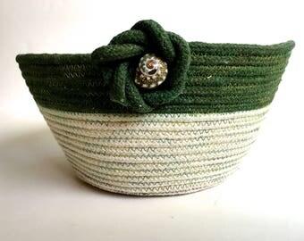 Hand Dyed Clothesline Basket  Repurposed Green Coiled Rope Bowl  Beach Decor  Beach Handmade Fiber Art Organizer  Cotton Basket  Fruit Bowl