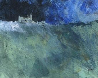 Original moorland cottage painting by Paul Bailey: Rhostir gwyrdd