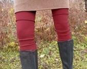 Organic Clothing Merino Wool Leg Warmers Organic Merino Wool Wine Ballet Dance Exercise Active Wear Yoga Warm Legs Leggings Made to Order