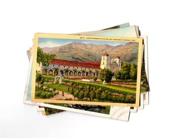 10 Vintage Santa Barbara Mission California Unused Postcards Blank - Unique Wedding Guest Book, Reception Decor, Journal Supplies