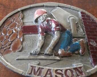 Western Mason Brass Belt Buckle Circa 1970s