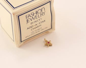 Vintage 1982 Avon Add A Star Charm Gold Tone Faux Rose Zircon October Birthstone Pink Rhinestone in Original Box NIB New Old Stock NOS