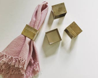 Vintage set of 4 brass square napkin rings, boho napkin holders, boho dining table decor, vintage table decor, vintage brass decor