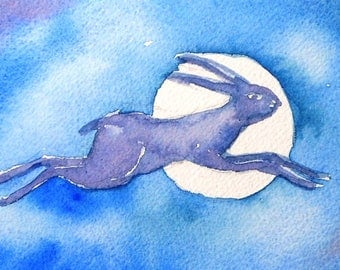 "Hare art ""The Hare and the Moon""  watercolour painting, original, mythological art, wild life painting"