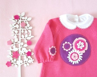 ON SALE Knitted baby dress with felt flowers. Pink. 100% wool. READY To Ship size 3/6 months.