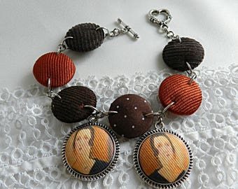 Bracelet in brown fabric with charms Modigliani