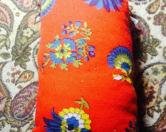 Red Floral Pipe Pouch . Padded Case Bag for Special Treasures
