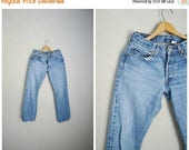 VACATION SALE - 10% off - vintage 90s worn in to perfection light medium wash denim jeans Levi's 501s-- womens mens unisex 28x32