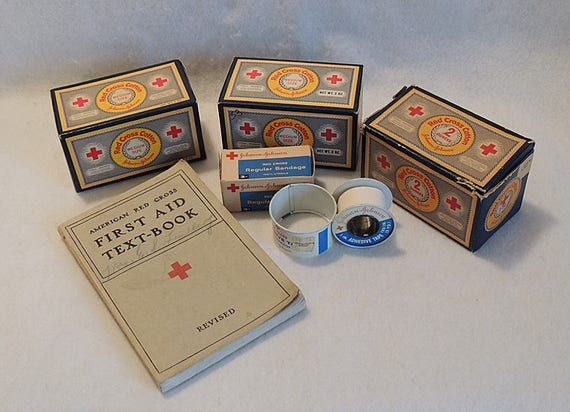 6 Piece Lot Vintage RED CROSS First Aid Medical Supplies Book, Cotton, Bandage & Tape  (#1)