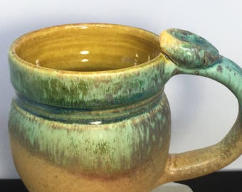 Handmade Pottery Mug, Ceramic Mug, Decorated Mug, Gold Mug,0826
