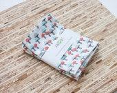 Small Cloth Napkins - Set of 4 - (N6760s) - Little Mushrooms Modern Reusable Fabric Napkins