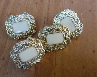 """4 Gold Mini Rectangle Shank Buttons Size 11/16"""""""