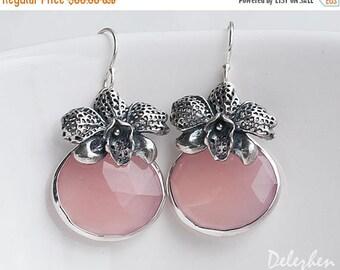 40 OFF - Pink Chalcedony drop earrings - Orchid Flower Earrings - Sterling Silver earrings - bezel set earrings - Gemstone earrings