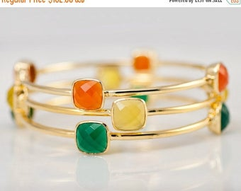 40 OFF - Bangles - Green Orange and Yellow Bangles -  Multi Colored Bangles - Gemstone Bangles - Stacking Bangles - Gold Bangle