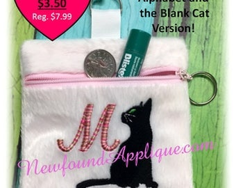In The Hoop Zipped Cat Silhouette Clutch Embroidery Machine Design