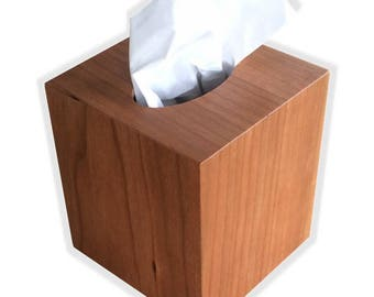 Tissue box cover cube square botique size fits Kleenex and Puffs boxes in Pennsylvania Black Cherry wood veneer