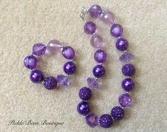 Bubblegum Necklace, Purple Chunky Necklace, Toddler Necklace, Baby Girls Necklace, Chunky Bead Necklace, Bubble Gum Necklace