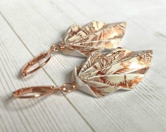 Origami Leaf Earrings // Floral Copper