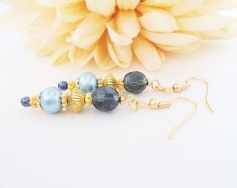 Boho Gold Jewelry, Teal Blue Pearl Earrings, Bohemian Dangle Earrings, Aqua Drop Earrings, Birthday Gift for Her, Beach Wedding Jewelry