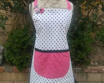 Ladies apron-polka dot-hot pink and black, hostess gift, cute