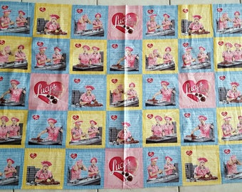 I love Lucy Chocolate Factory 30x44 premium cotton fabric panel by Quilting Treasures - OOP HTF - 5 rows