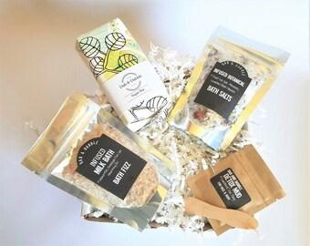 Bath Salt Gifts For Her   Spa Gift Set with Bath Salts   Bath Soak   Sugar Scrub Soap   Facial Mask