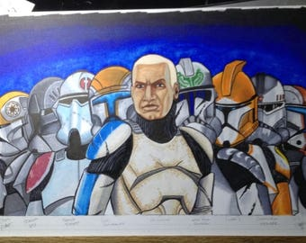 "Original Art - Star Wars The Clone Wars ""THE EXPENDABLES"" 11 x 17"