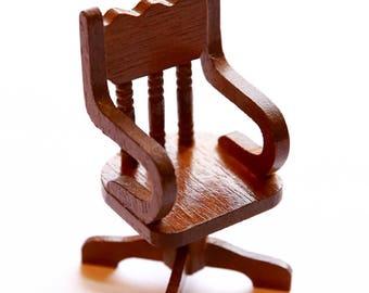 Vintage Dollhouse Chair, Miniature Chair, Dollhouse Miniatures, Dollhouse Furniture, Miniature Furniture, Miniature Office Chair