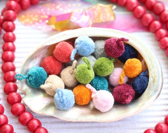 MINI Luxe Pom Poms with Loops for Jewelry, FALL Designer Jewelry Making Charm, Sandal Charms, Handmade Fashion in Pairs, You Choose Colors