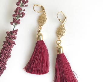 Burgundy Tassel Earrings. Holiday Tassel Earrings.  Long Tassel Earrings.  Gold Statement Earrings. Holiday Tassel Jewelry. Christmas Gift.
