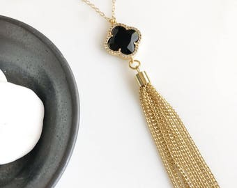Long Gold Tassel Necklace with Black Stone. Gold Tassel Necklace. Boho Jewelry. Gift.