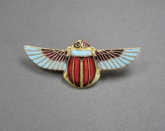 Enamel Scarab Brooch, Egyptian Revival, 30's, Art Deco, Vintage Pin