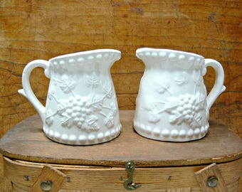 White Ceramic Creamers - Set of 2 Vintage Napcoware Pitchers - Grape Cluster Relief - C-5467 - Wedding Farmhouse Cottage Decor