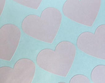 GLAMSALE Large Blush Pink Heart Stickers, Party Favor Stickers, Wedding Favor Stickers (30)