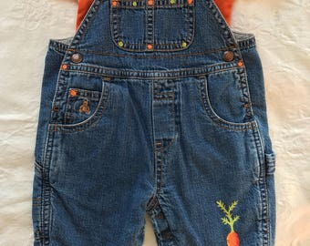 One of a kind baby overalls with matching bodysuit, carrot themed 0-3 months