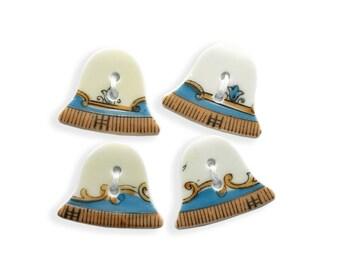4 Bell Buttons, Set of 4 Buttons, Unique Buttons, Fiber Art, Blue Gold White Buttons, Ceramic Buttons, Handmade Buttons, Sewing, Knitting