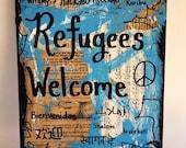 Refugees Welcome Music book art painting america languages political USA international peace love mixed media orignal ART PRINT