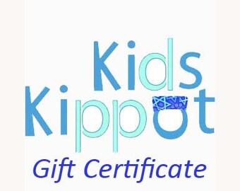 Kids Kippot Gift Certificate- great gift idea, birthday, Hanukkah, Bar Mitzvah