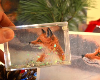 New! Red Fox Glitter Box Snowglobe