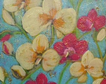 Orchids Garden 2 . Original Abstract Flowers Painting. Wall Decor. Art Gift.