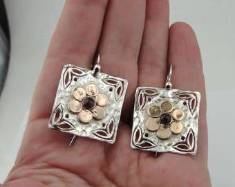 Hadar NEW Israel sterling  Silver 925 gold 9k garnet , gold  flower , christmas , gift  Earrings (H 2904