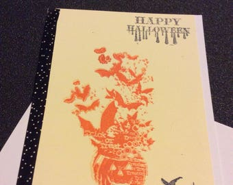Happy  Halloween greetings card, handmade card, hand stamped, pumpkin with bats, black stamped witch broom