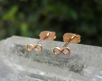 ON SALE SALE - 14K Solid Yellow Gold Stud Earrings - Cartilage Earrings -  Infinity - One Pair of Stud Earrings - Cartilage Piercing
