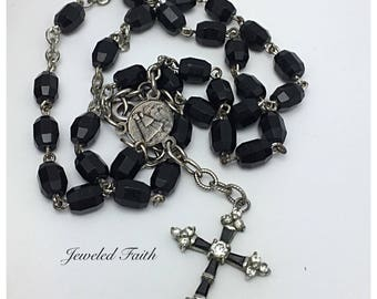 Cross Necklace Rosary Necklace Vintage Religious Necklace