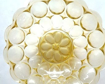 "ON-SALE Yellow Glass Oval Bubble Bowl- Gorgeous Collectible 9"" Diameter"