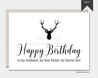 Happy Birthday Husband, Printable Greeting Card, 5x7 Folded Card, (1) PDF, Instant Download, Printable File
