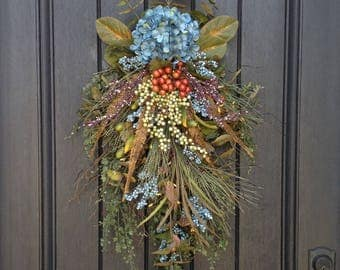 Spring-Summer-Fall Wreath-Teardrop Wreath-Vertical Door Decor-Swag Decor-Use Year Round-Blue/Teal Hydrangea-Feathers-Wispy-Indoor/Outdoor