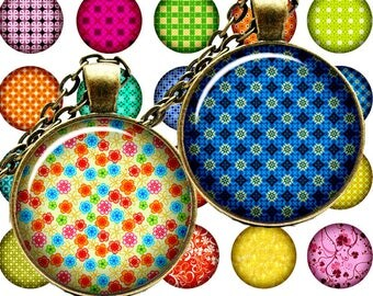 Digital Collage of Bright paterny N1 - 63 1x1 Inch Circle JPG images